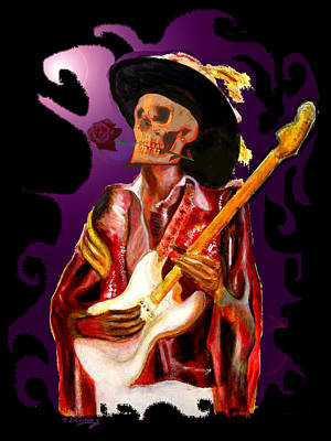 Painting - Skull Guitar Player With Rose by Tom Conway