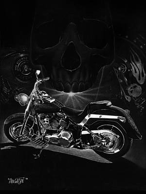 Black And White Art Drawing - Skull Harley by Tim Dangaran