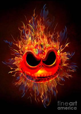 Haunted Mansion Digital Art - Skull Head On Fire by Three Second