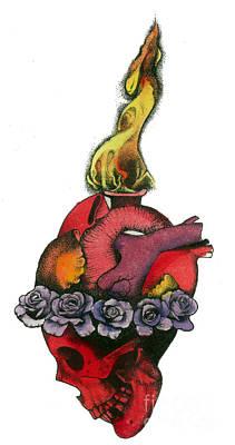 Skull Heart Art Print by Diana Paterson