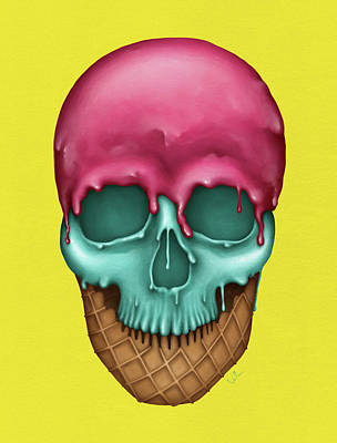 Skull Icecream Print by Francisco Valle