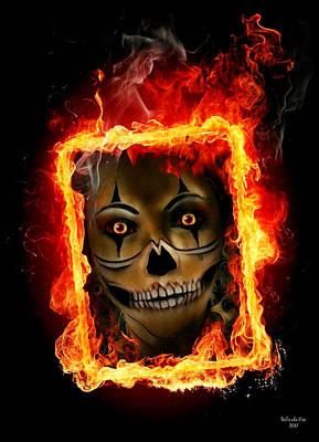 Digital Art - Skull In Burning Frame by Artful Oasis