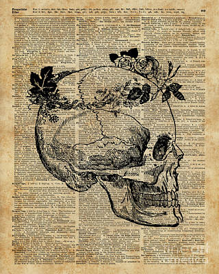 Etching Mixed Media - Skull In Floral Wreath Ink Drawing Dictionary Art by Anna Wilkon