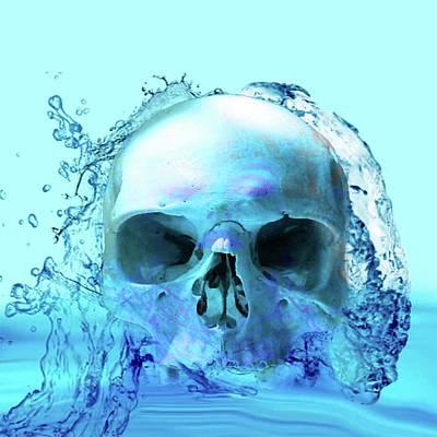 Digital Art - Skull In Water by Matthew Lacey