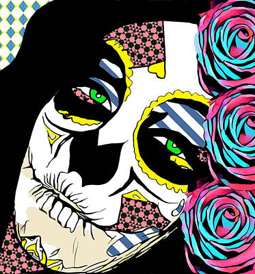 Digital Art - Skull Lady Roses Day Of The Dead Art by Elizavella Bowers