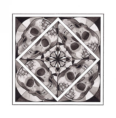 Black And White Wall Art - Mixed Media - Skull Mandala Series Number Two by Deadcharming Art