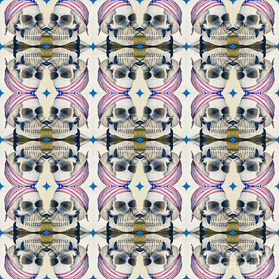 Digital Art - Skull Mirror Pattern Large by Mastiff Studios