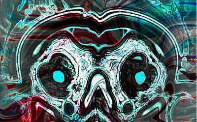 Skull Of A Mad Alien With Snake Art Print by Abstract Angel Artist Stephen K