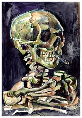 Skull Painting - Skull Of A Skeleton With Burning Cigarette by Suzann's Art