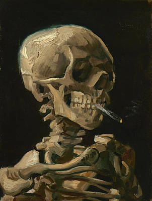 Skull Of A Skeleton With Burning Cigarette - Vincent Van Gogh Art Print by War Is Hell Store