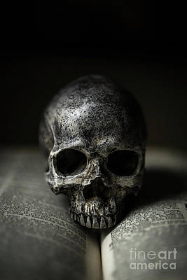 Photograph - Skull On Book by Edward Fielding
