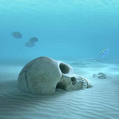 Skull On Sandy Ocean Bottom Art Print