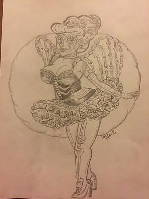 Sugar Skull Girl Drawing - Skull Pin Up by Megan Reppert