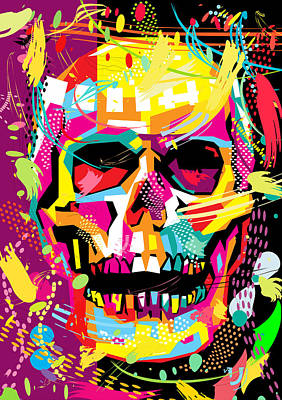 Pop Art Royalty-Free and Rights-Managed Images - Skull Pop Art Dope by Ahmad Nusyirwan
