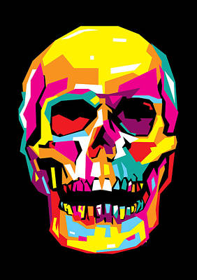 Pop Art Royalty-Free and Rights-Managed Images - Skull Pop Art WPAP by Ahmad Nusyirwan
