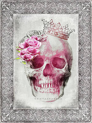 Digital Art - Skull Queen With Roses V2 by Xrista Stavrou