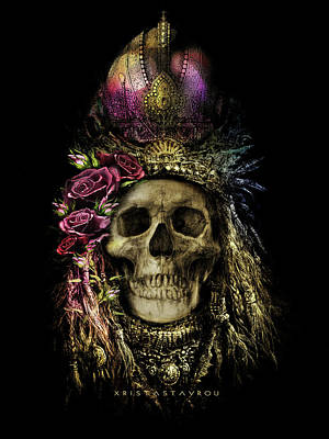 Digital Art - Skull Queen With Roses  by Xrista Stavrou