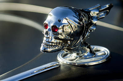 Chrome Skull Photograph - Skull Rat Rod Hood Ornament by Jill Reger
