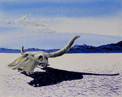 Dry Lake Painting - Skull by Steve Beaumont