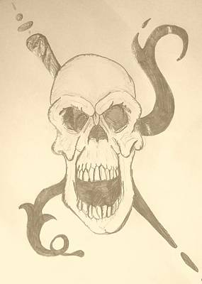Drawing - Skull Tattoo by Yshua The Painter