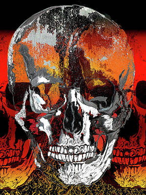 Digital Art - Skull Times Three by Lisa Stanley