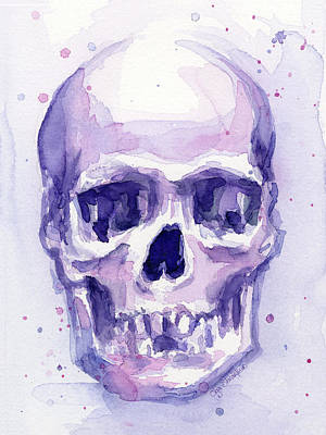Skeleton Painting - Skull Watercolor Purple by Olga Shvartsur