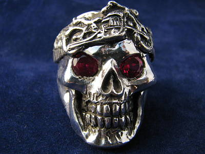 Sterling Silver Rings Jewelry - Skull With Bike Headband by J C Hyler