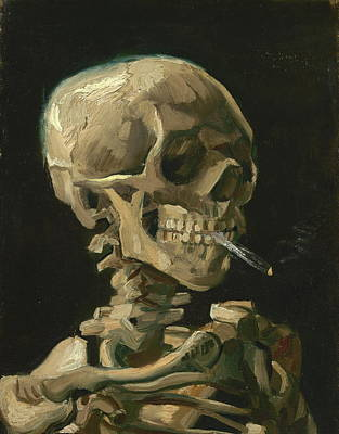 Grunge Skull Painting - Skull With Burning Cigarette, 1885 by Vincent Van Gogh