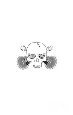 Guitar Player Digital Art - Skull With Guitars by Andreas Berheide
