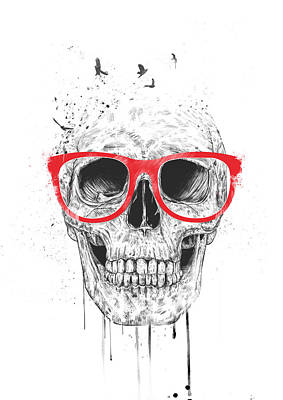 Funny Mixed Media - Skull With Red Glasses by Balazs Solti