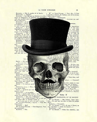 Skull With Top Hat And Moustache Art Print by Madame Memento