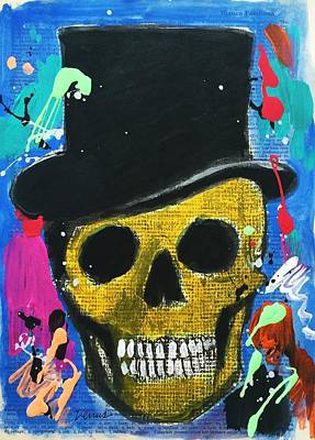 Skull With Tophat Art Print by Venus