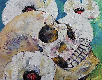 Surreal Art Painting - Skull With White Poppies by Michael Creese