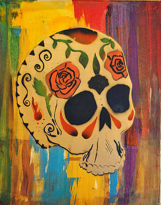 Painting - Skull3 by Josean Rivera