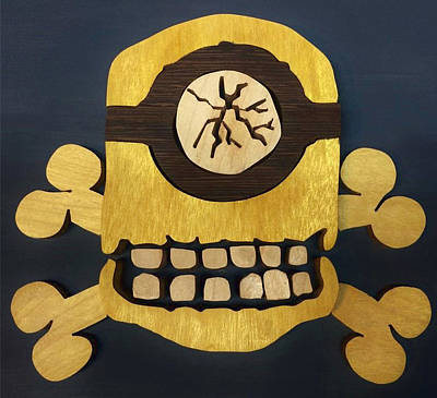 Scroll Saw Mixed Media - Skull And Crossbones Minion by Michael Bergman
