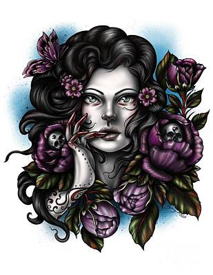Digital Art - Skulls And Roses by Curiobella- Sweet Jenny Lee