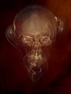 Photograph - Skulls And Smokes - Red Version by Jaroslaw Blaminsky