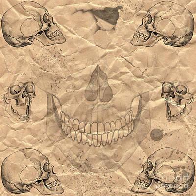 Sculling Digital Art - Skulls In Grunge Style by Michal Boubin