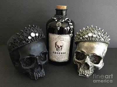 Photograph - Skulls With Bottle Of Arsenic - Halloween Prints Skull Art Arsenic Bottle  by Kathy Fornal