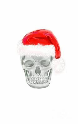 Digital Art - Skully Santa by Jeanette Hibbert