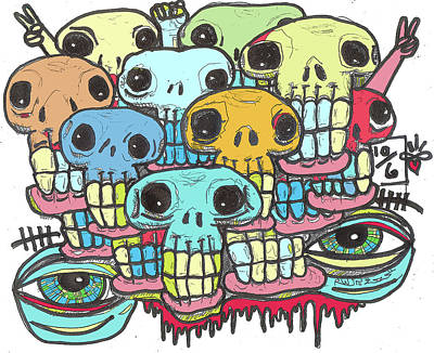 Outsider Digital Art - Skullz by Robert Wolverton Jr