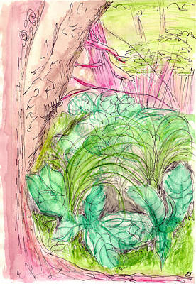 Cabbage Drawing - Skunk Cabbage Swamp by Elizabeth Thorstenson