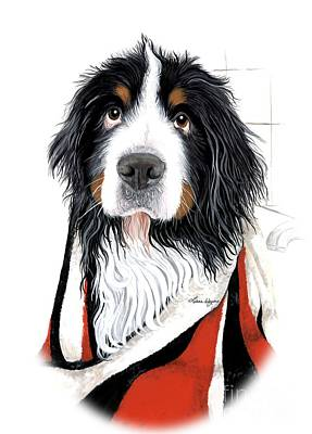 Painting - Skunked - Bernese Mountain Dog by Liane Weyers