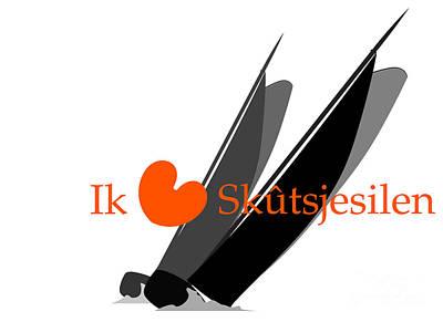 Digital Art - Skutsjes In Een Strijd by Jan Brons