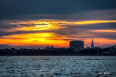 Photograph - Sky Ablaze Over Charleston by Walt Baker