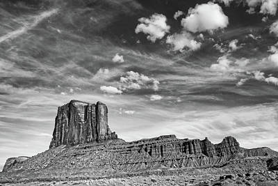 Photograph - Sky And Butte Monument Valley Bw by Jerry Fornarotto