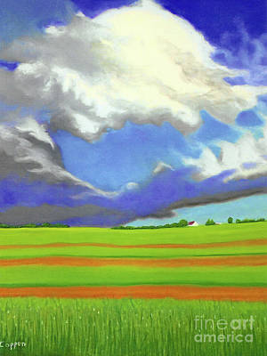 Painting - Sky And Clouds And Patterned Fields by Robert Coppen