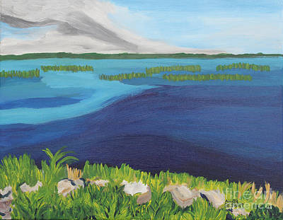 Painting - Serene Blue Lake by Annette M Stevenson