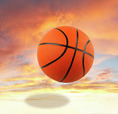 Bounce Digital Art - Sky Basketball  by Les Cunliffe