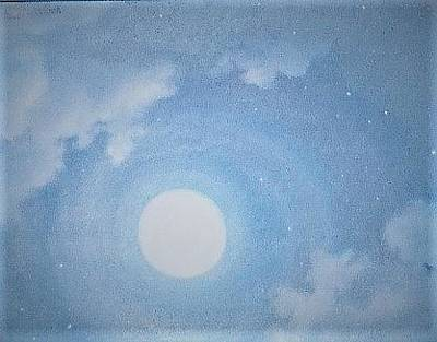 Painting - Sky Blue Morning Moon by Suzn Art Memorial
